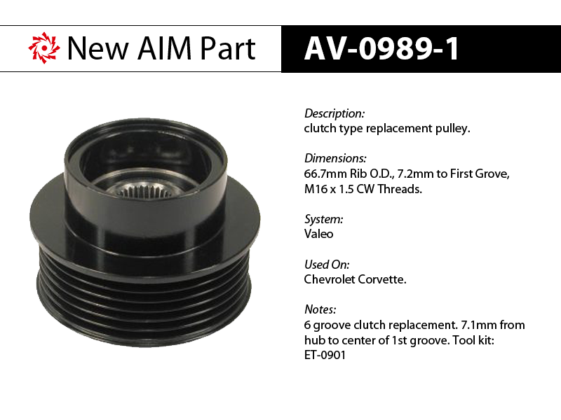 AV-0989-1 clutch replacement pulley